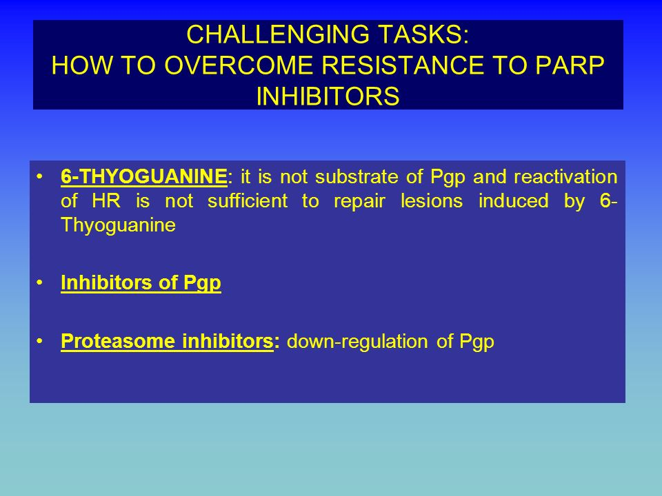 CHALLENGING TASKS: HOW TO OVERCOME RESISTANCE TO PARP INHIBITORS