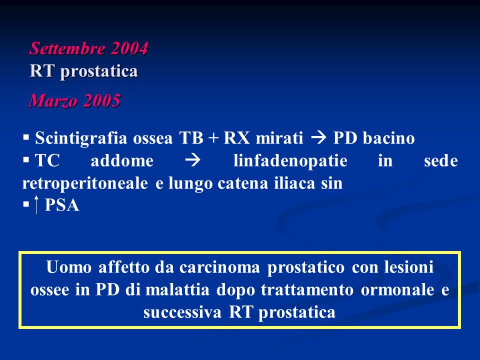 Settembre 2004 RT prostatica