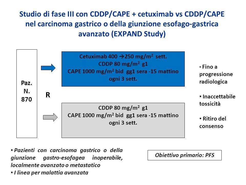 Studio di fase III con CDDP/CAPE + cetuximab vs CDDP/CAPE nel carcinoma gastrico o della giunzione esofago-gastrica avanzato (EXPAND Study)