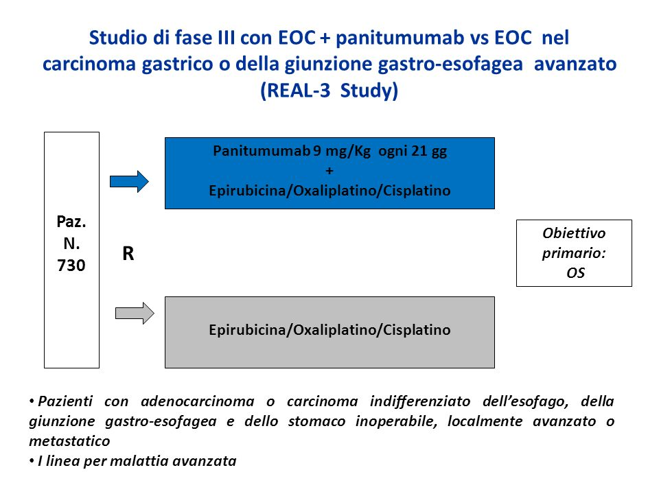 Studio di fase III con EOC + panitumumab vs EOC nel carcinoma gastrico o della giunzione gastro-esofagea avanzato (REAL-3 Study)