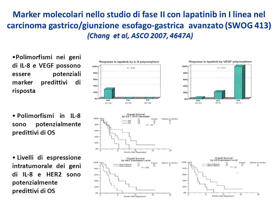 Marker molecolari nello studio di fase II con lapatinib in I linea nel carcinoma gastrico/giunzione esofago-gastrica avanzato (SWOG 413) (Chang et al, ASCO 2007, 4647A)