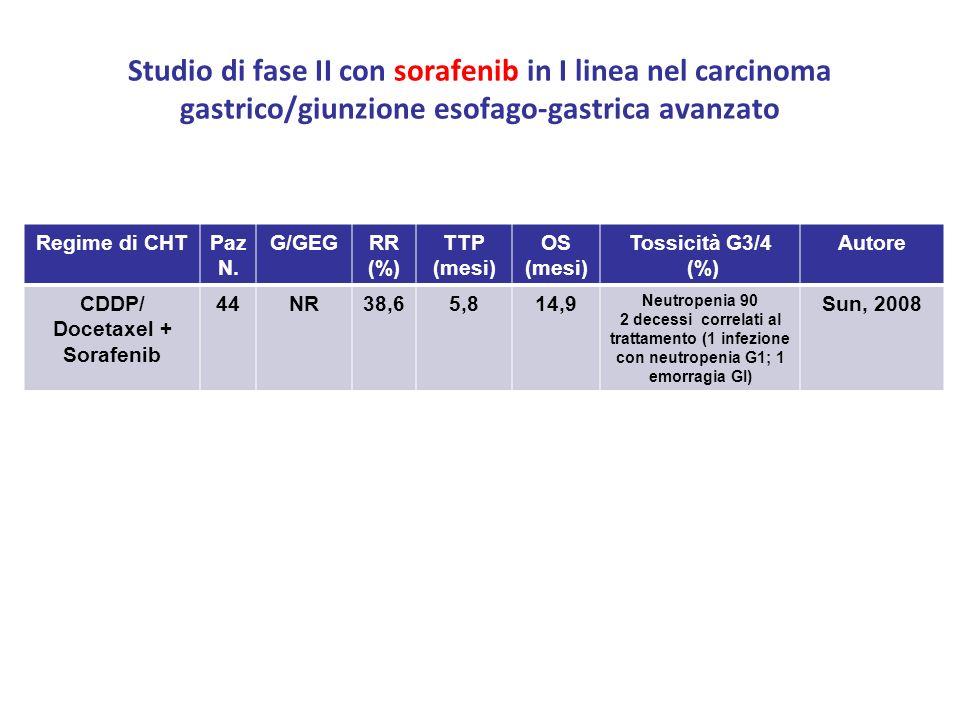Studio di fase II con sorafenib in I linea nel carcinoma gastrico/giunzione esofago-gastrica avanzato