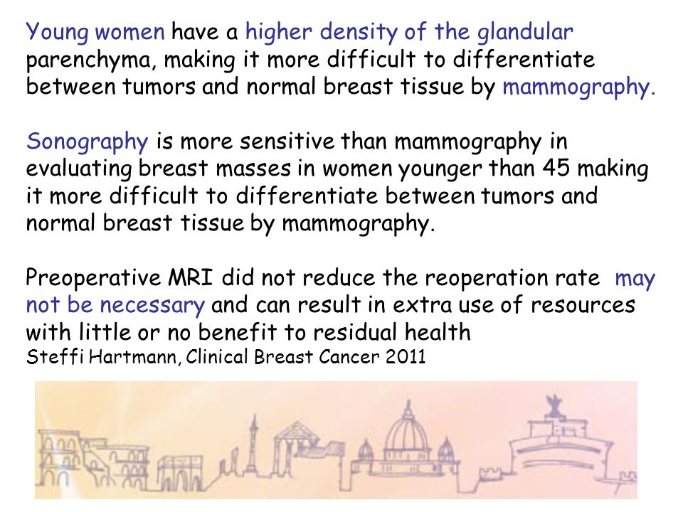 Young women have a higher density of the glandular parenchyma, making it more difficult to differentiate between tumors and normal breast tissue by mammography.
