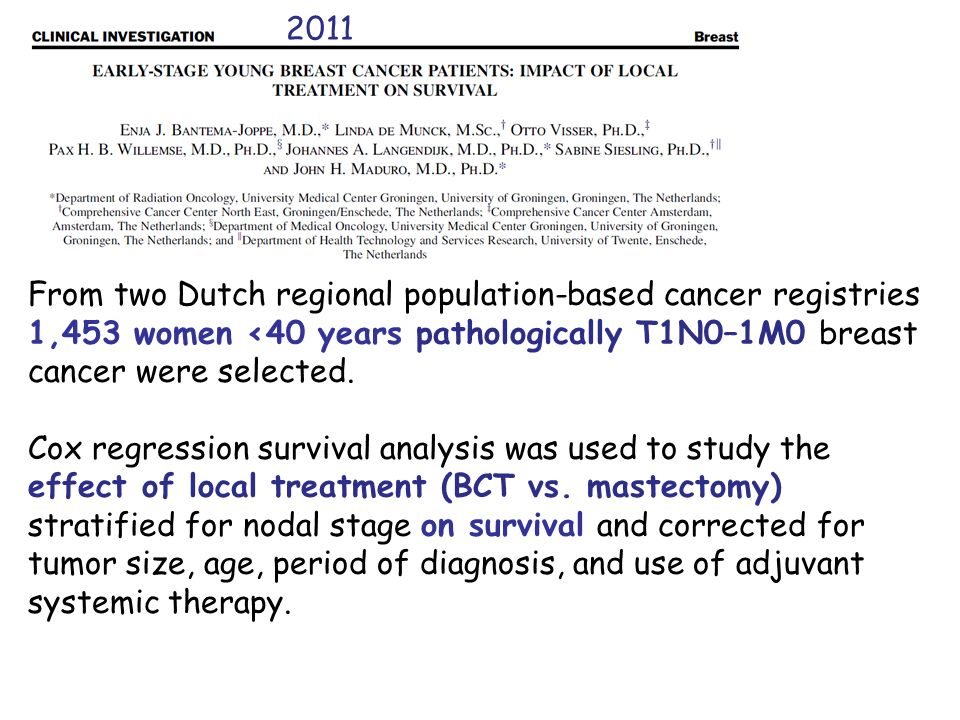 2011From two Dutch regional population-based cancer registries. 1,453 women <40 years pathologically T1N0–1M0 breast cancer were selected.