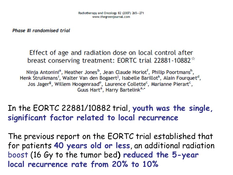 In the EORTC 22881/10882 trial, youth was the single,