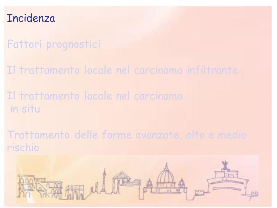 IncidenzaFattori prognostici. Il trattamento locale nel carcinoma infiltrante. Il trattamento locale nel carcinoma.