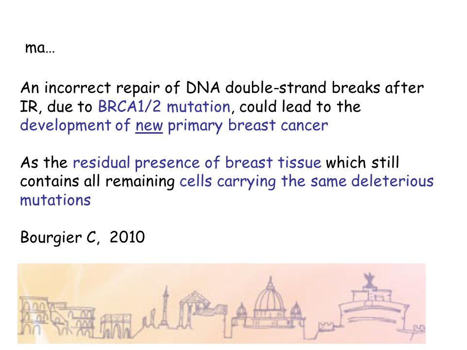 ma…An incorrect repair of DNA double-strand breaks after IR, due to BRCA1/2 mutation, could lead to the development of new primary breast cancer.