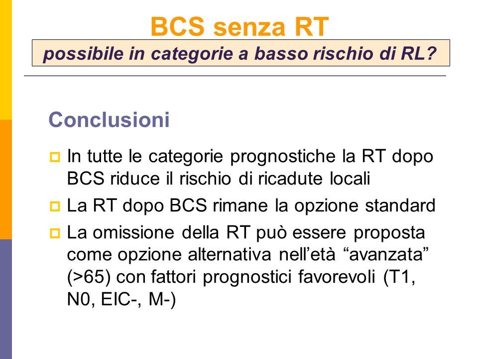 BCS senza RT possibile in categorie a basso rischio di RL