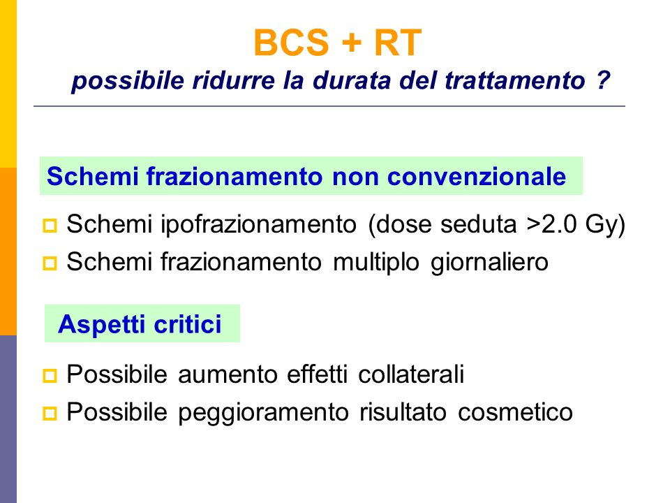 BCS + RT possibile ridurre la durata del trattamento