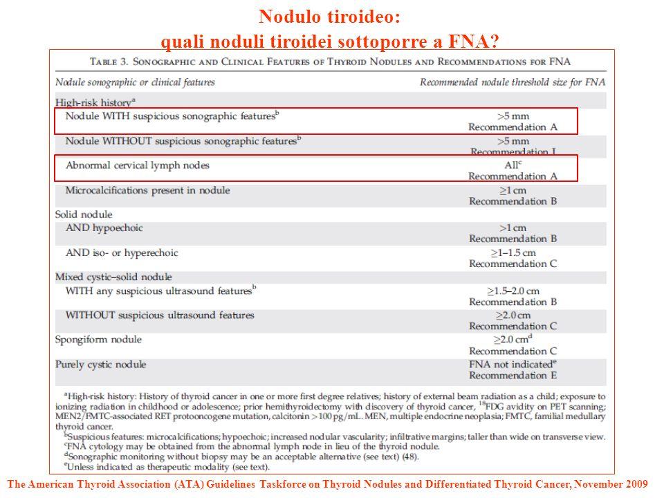 quali noduli tiroidei sottoporre a FNA