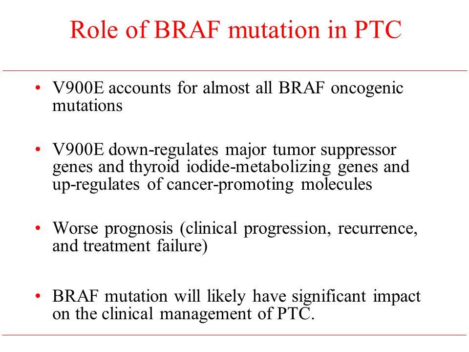 Role of BRAF mutation in PTC