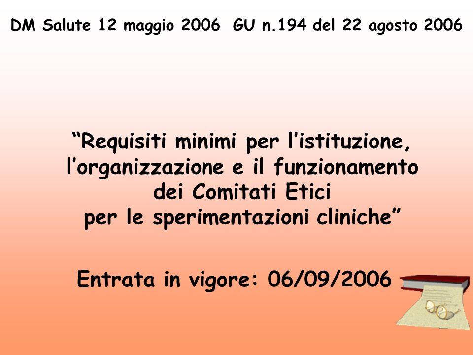 DM Salute 12 maggio 2006 GU n.194 del 22 agosto 2006