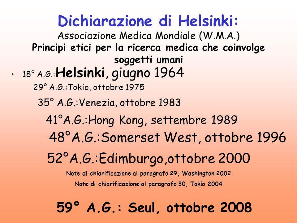 Dichiarazione di Helsinki: Associazione Medica Mondiale (W. M. A