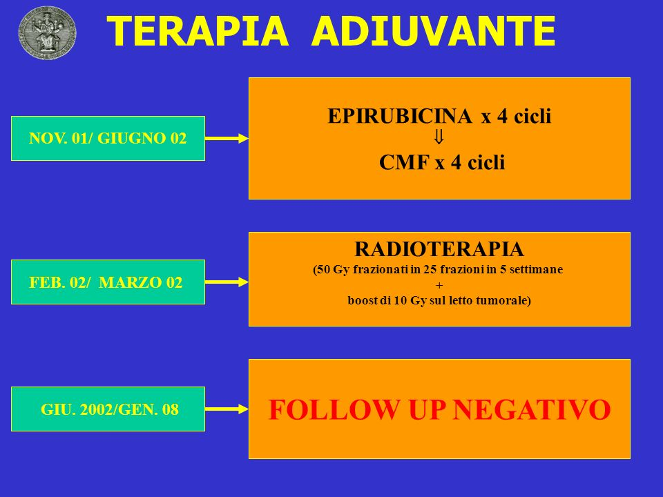 TERAPIA ADIUVANTE FOLLOW UP NEGATIVO EPIRUBICINA x 4 cicli