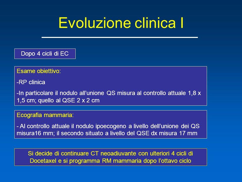 Evoluzione clinica I Dopo 4 cicli di EC Esame obiettivo: RP clinica