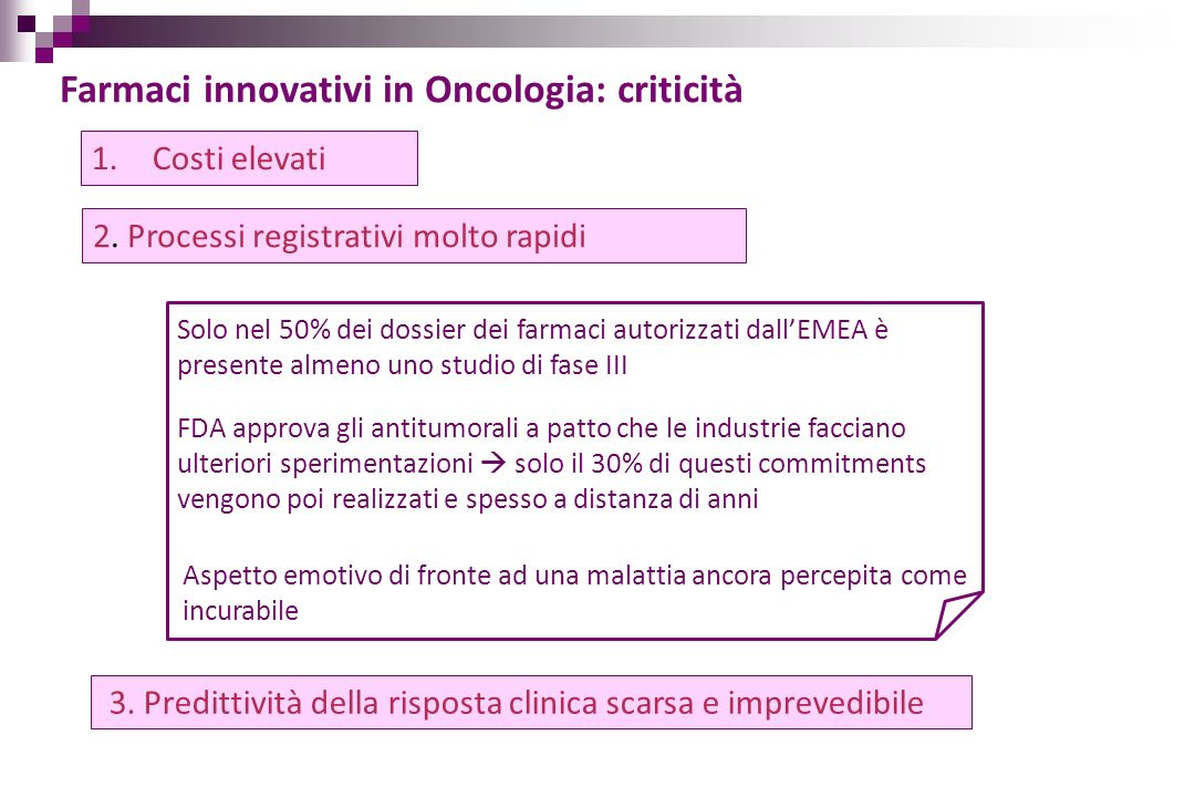 Farmaci innovativi in Oncologia: criticità