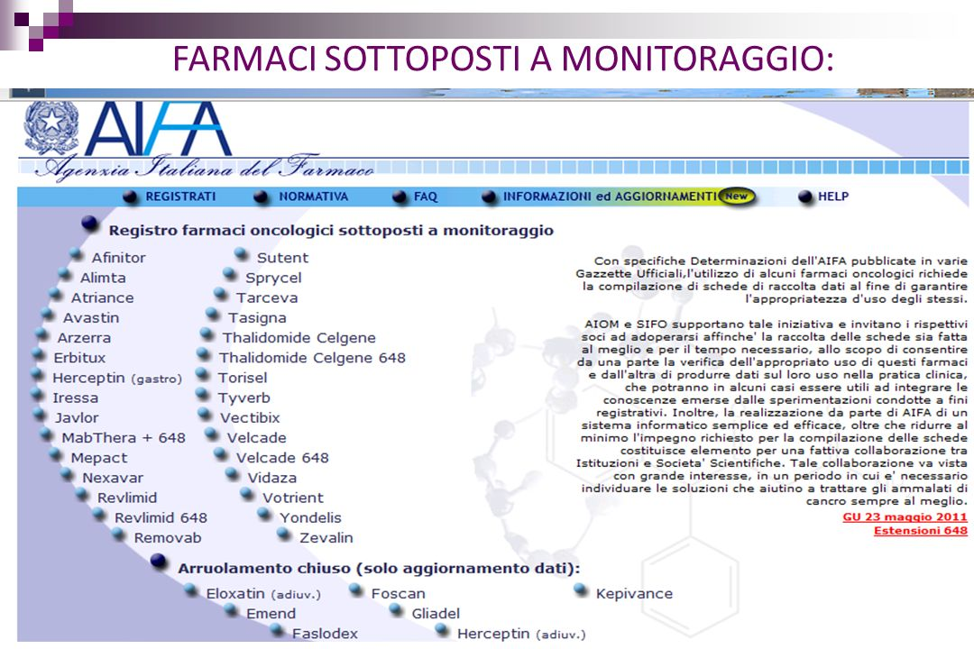 FARMACI SOTTOPOSTI A MONITORAGGIO:
