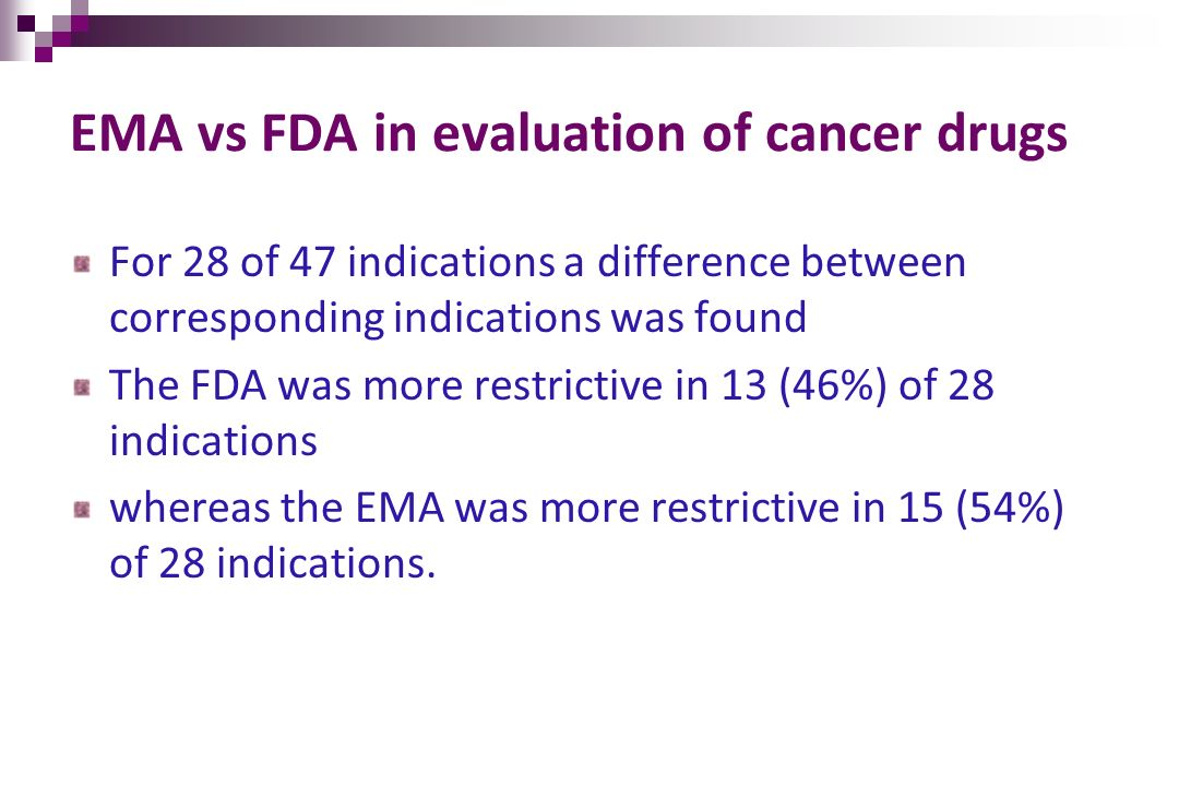 EMA vs FDA in evaluation of cancer drugs