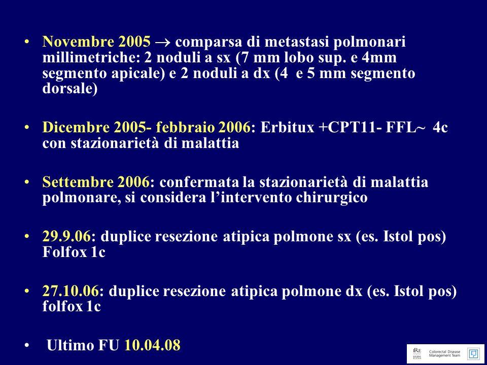 Novembre 2005  comparsa di metastasi polmonari millimetriche: 2 noduli a sx (7 mm lobo sup. e 4mm segmento apicale) e 2 noduli a dx (4 e 5 mm segmento dorsale)