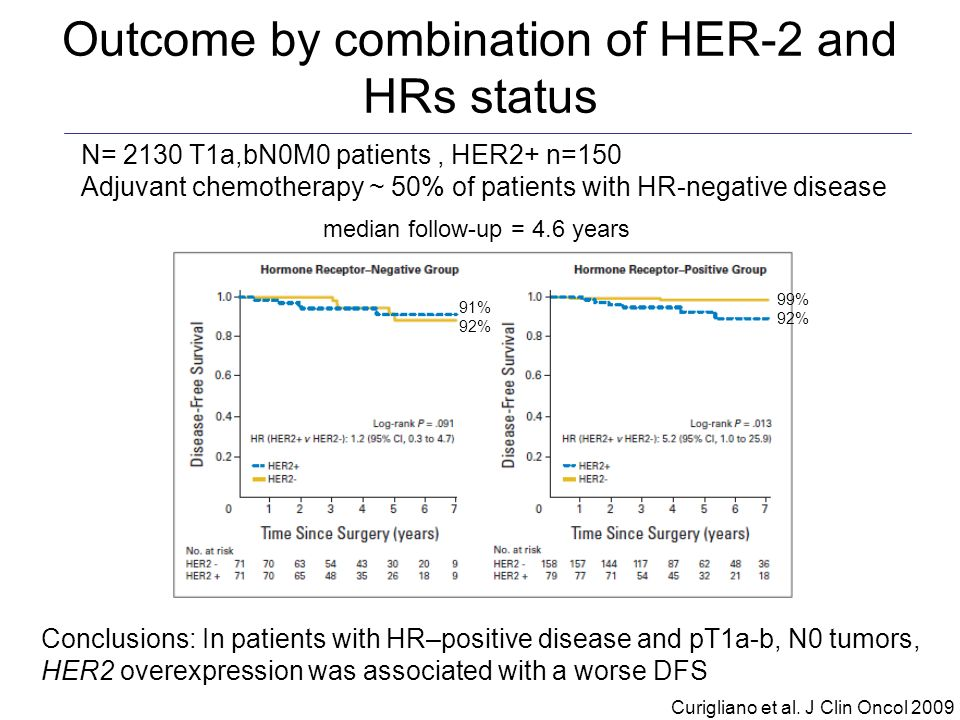 Outcome by combination of HER-2 and HRs status