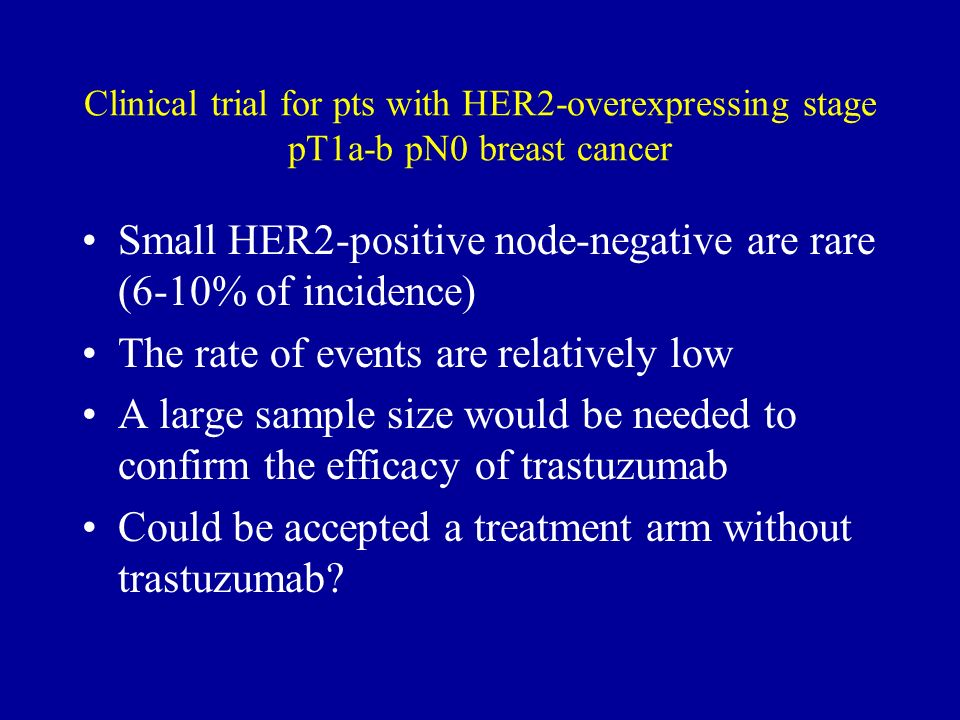 Small HER2-positive node-negative are rare (6-10% of incidence)