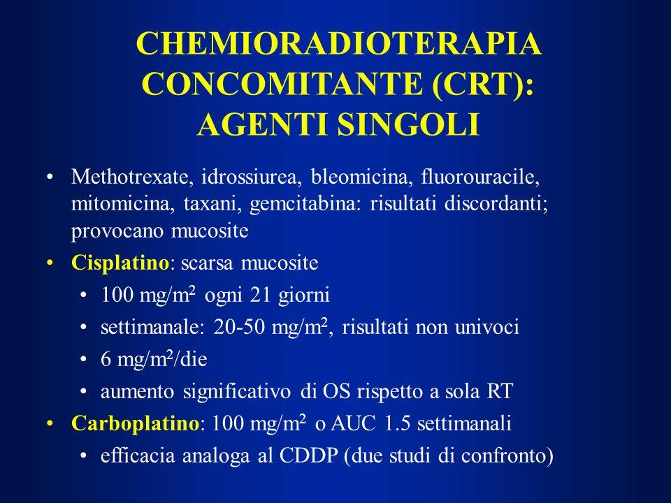 CHEMIORADIOTERAPIA CONCOMITANTE (CRT): AGENTI SINGOLI
