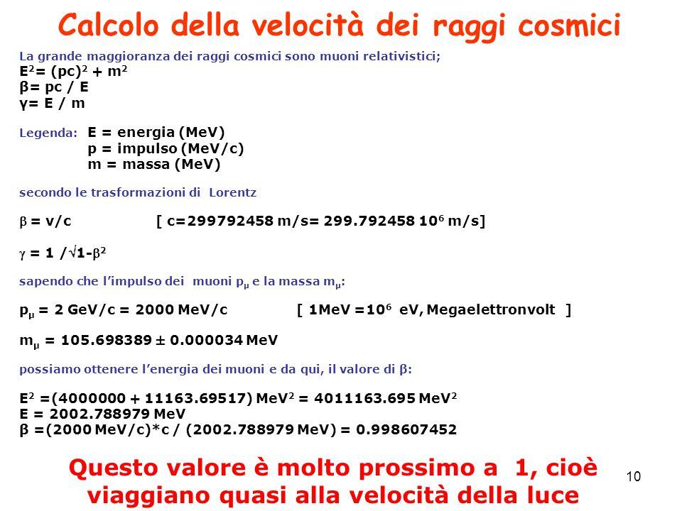 Calcolo della velocità dei raggi cosmici