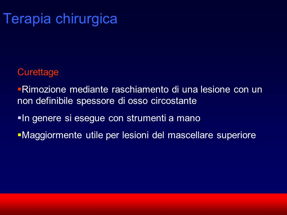 Terapia chirurgica Curettage