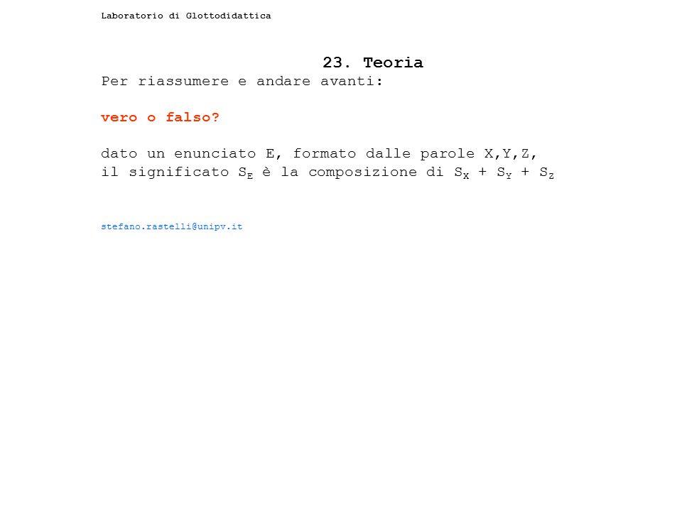 23. Teoria Per riassumere e andare avanti: vero o falso
