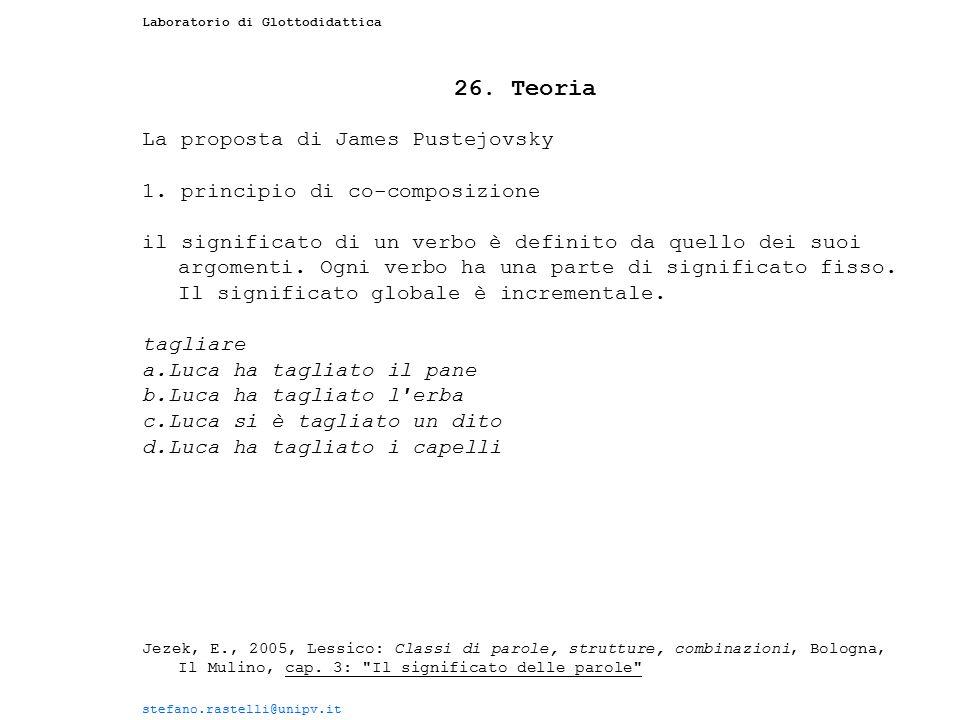 26. Teoria La proposta di James Pustejovsky