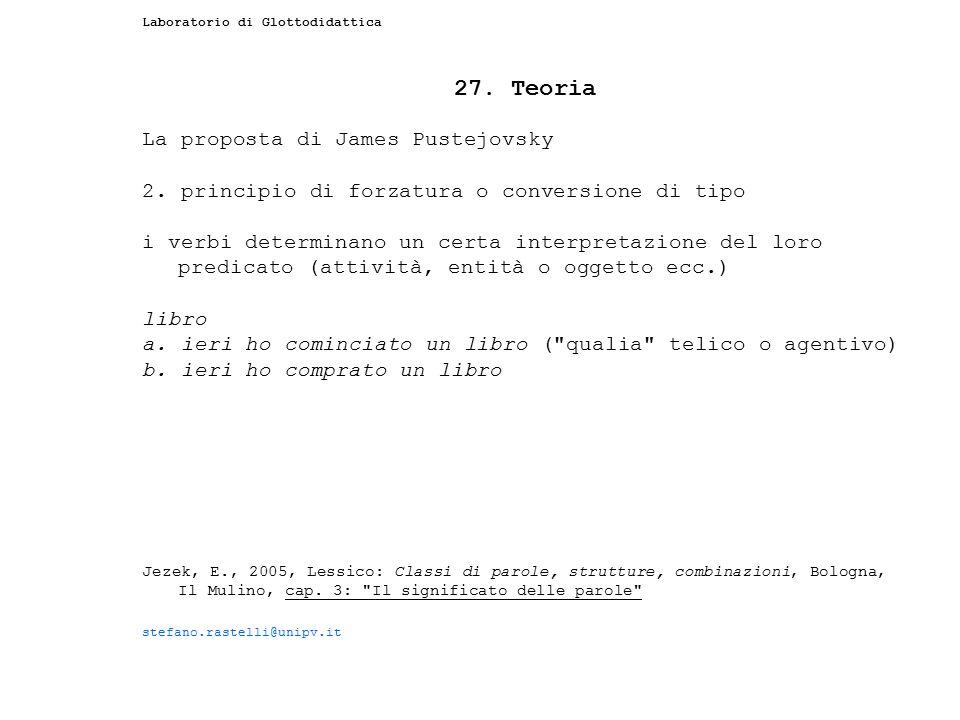 27. Teoria La proposta di James Pustejovsky