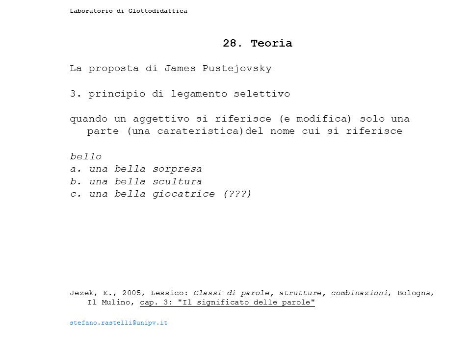 28. Teoria La proposta di James Pustejovsky