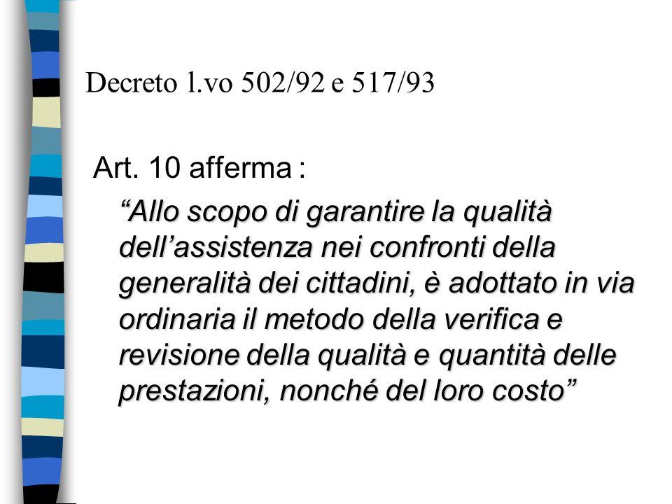 Decreto l.vo 502/92 e 517/93 Art. 10 afferma :