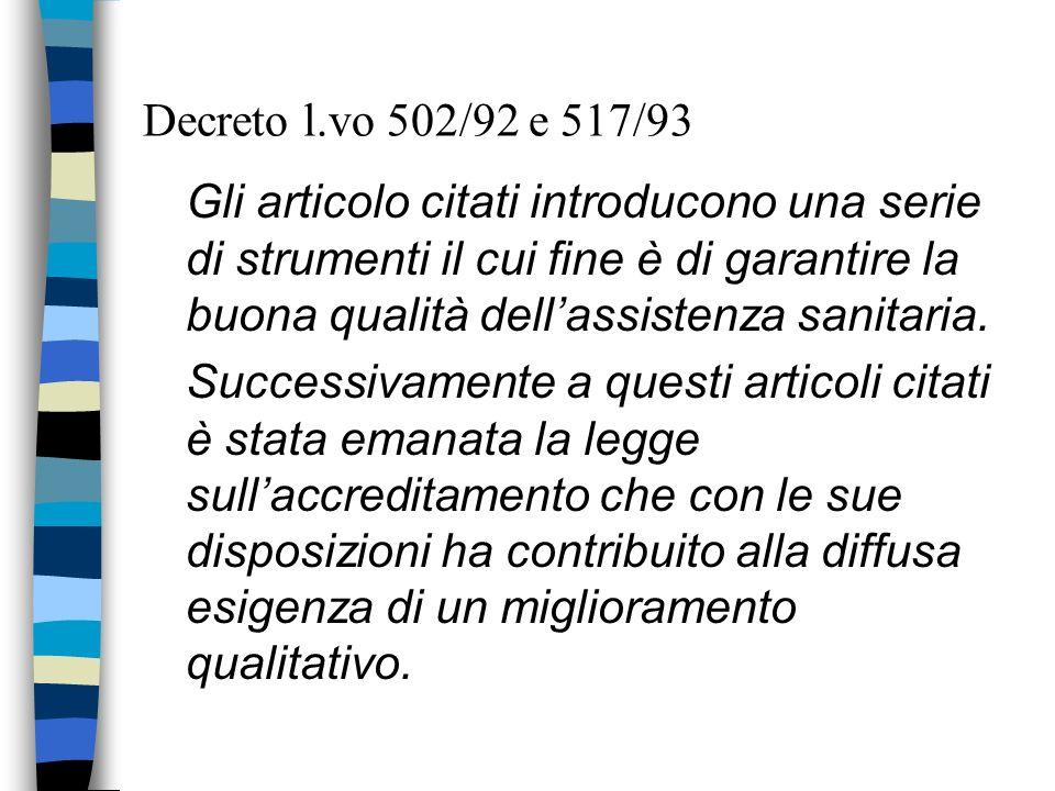 Decreto l.vo 502/92 e 517/93