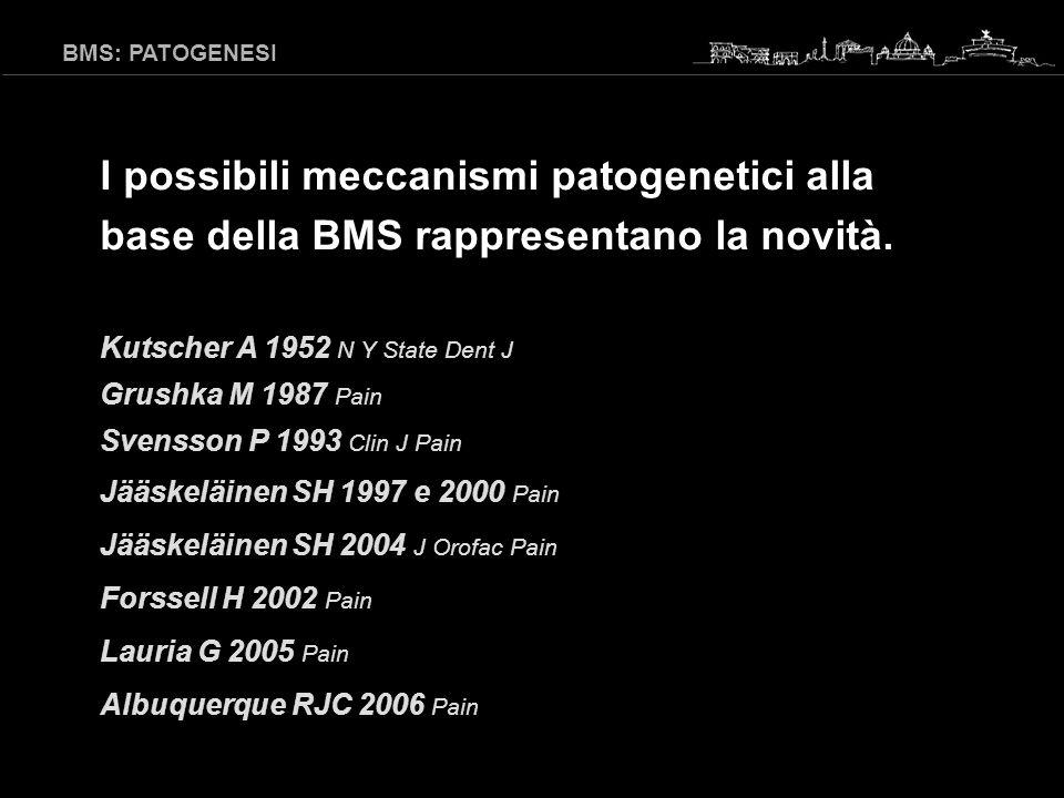 BMS: PATOGENESI I possibili meccanismi patogenetici alla base della BMS rappresentano la novità. Kutscher A 1952 N Y State Dent J.