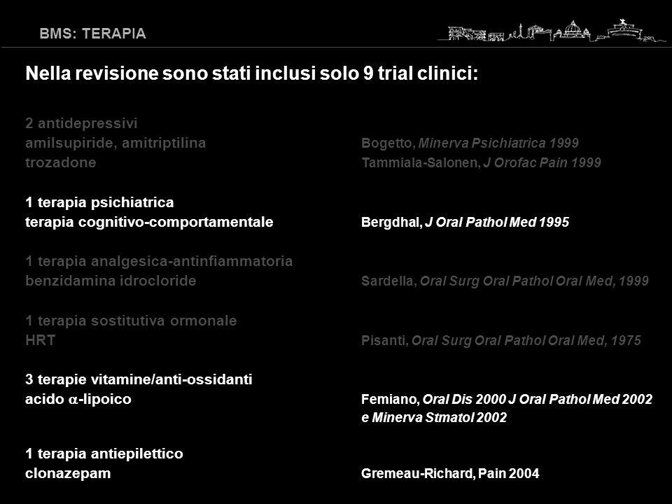 Nella revisione sono stati inclusi solo 9 trial clinici: