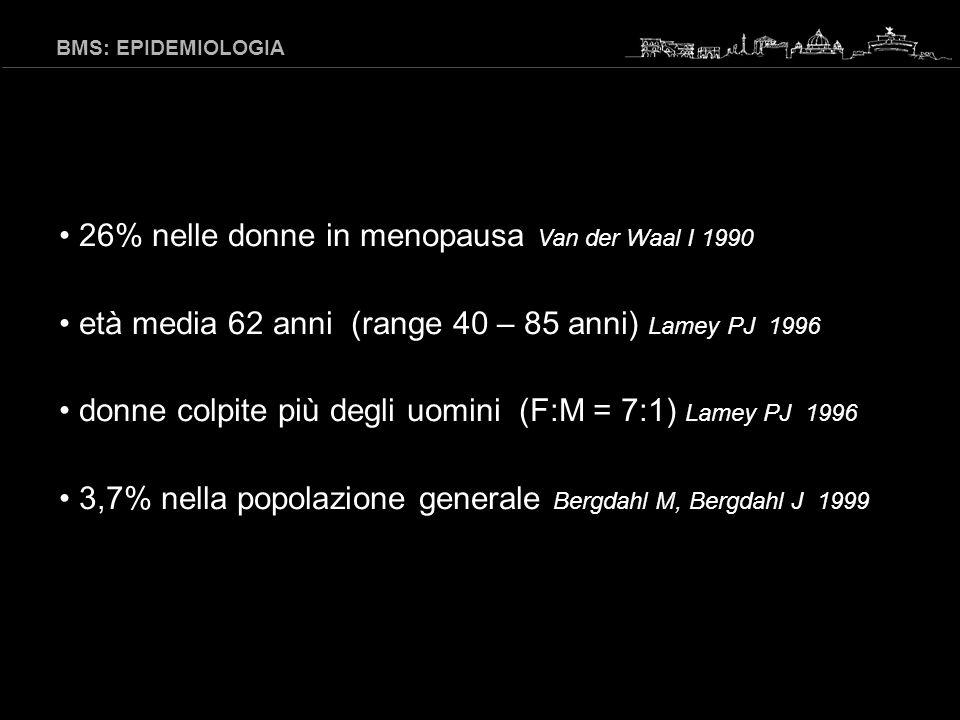 26% nelle donne in menopausa Van der Waal I 1990