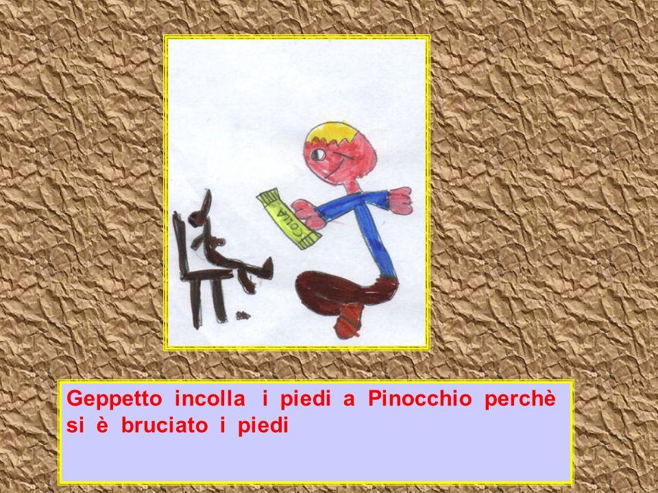 Geppetto incolla i piedi a Pinocchio perchè si è bruciato i piedi