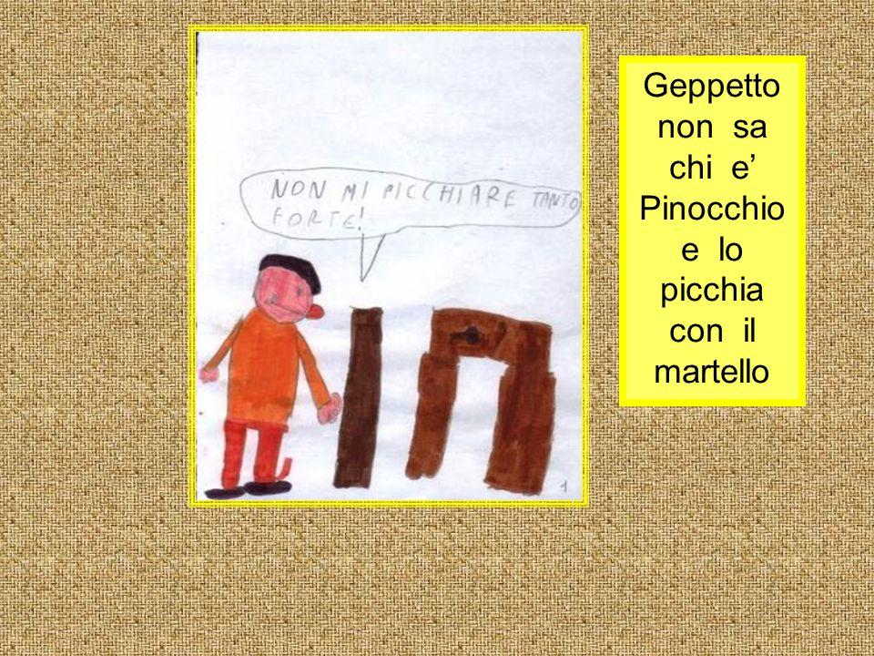 Geppetto non sa chi e' Pinocchio e lo picchia con il martello