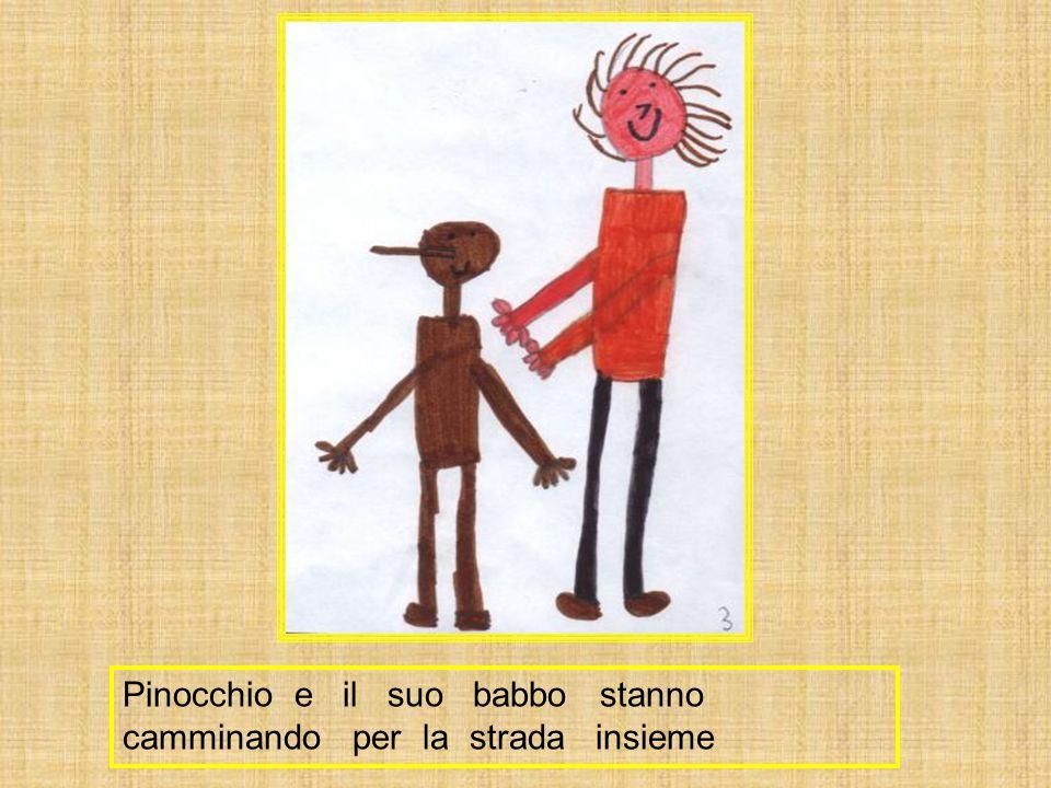 Pinocchio e il suo babbo stanno camminando per la strada insieme