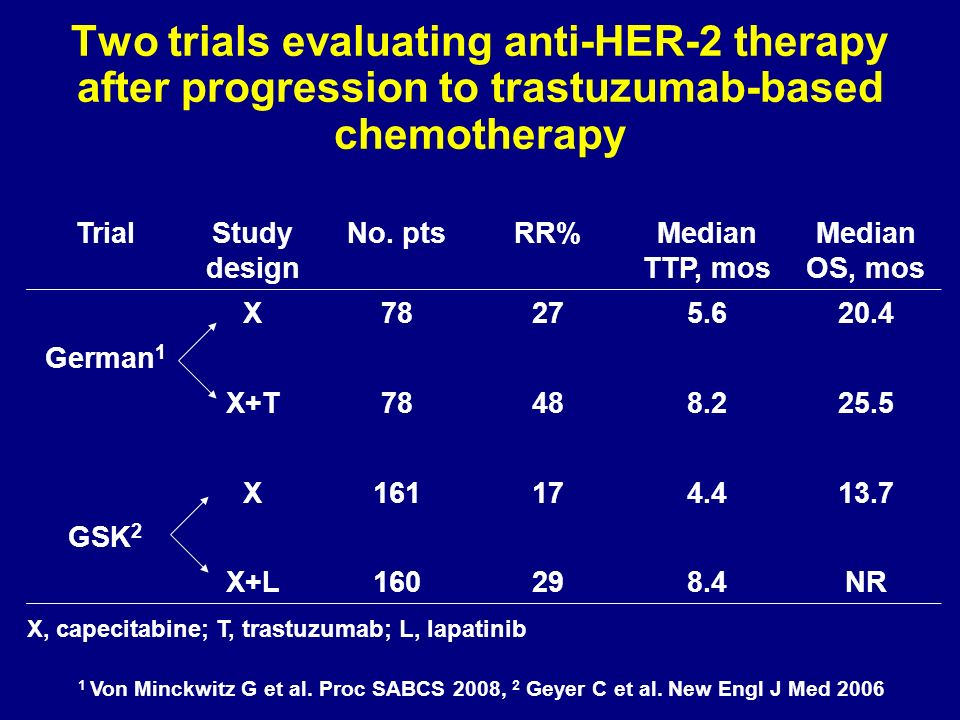 Two trials evaluating anti-HER-2 therapy after progression to trastuzumab-based chemotherapy