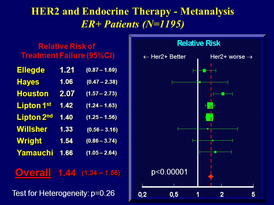 HER2 and Endocrine Therapy - Metanalysis ER+ Patients (N=1195)