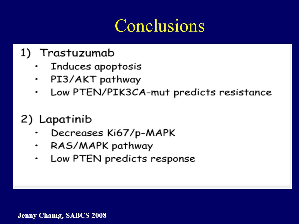 Conclusions Jenny Chamg, SABCS 2008