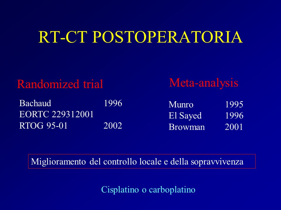 RT-CT POSTOPERATORIA Meta-analysis Randomized trial Bachaud 1996