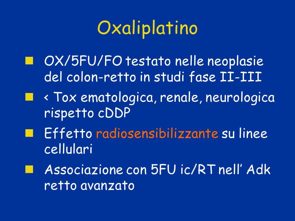 OxaliplatinoOX/5FU/FO testato nelle neoplasie del colon-retto in studi fase II-III. < Tox ematologica, renale, neurologica rispetto cDDP.