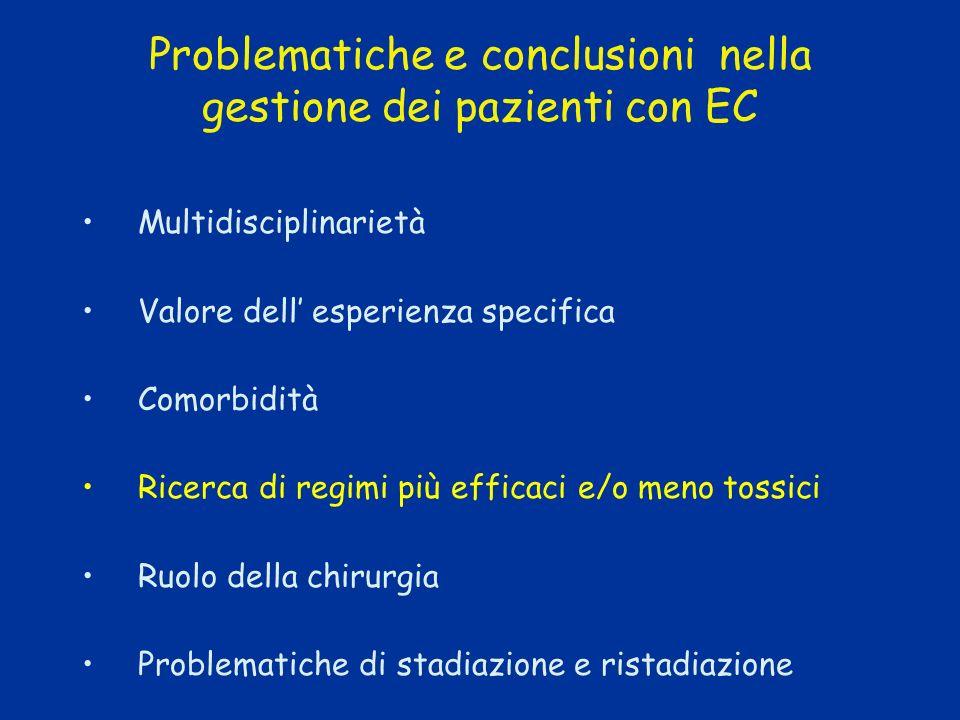 Problematiche e conclusioni nella gestione dei pazienti con EC