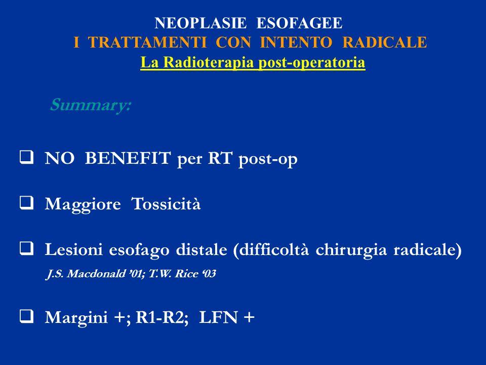 I TRATTAMENTI CON INTENTO RADICALE La Radioterapia post-operatoria
