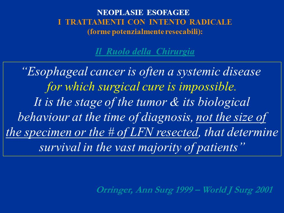 Esophageal cancer is often a systemic disease