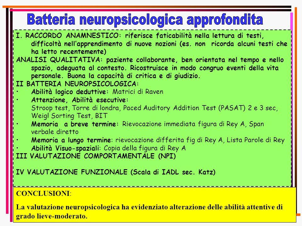 Batteria neuropsicologica approfondita