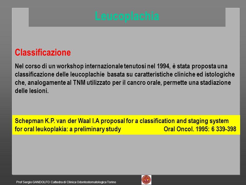 Leucoplachia Classificazione